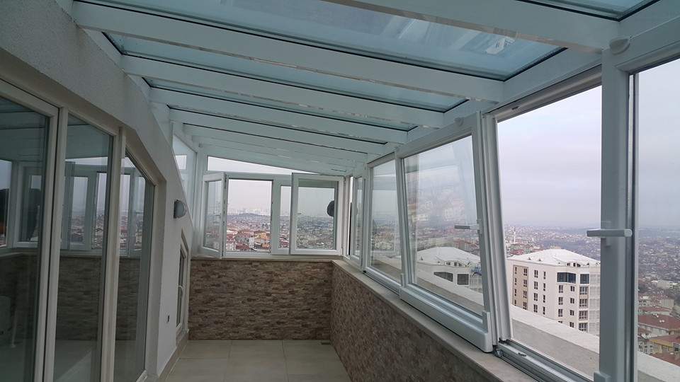 Cam tavan çatı teras etrafı kömmerling pvc pencere sistemli uygulama