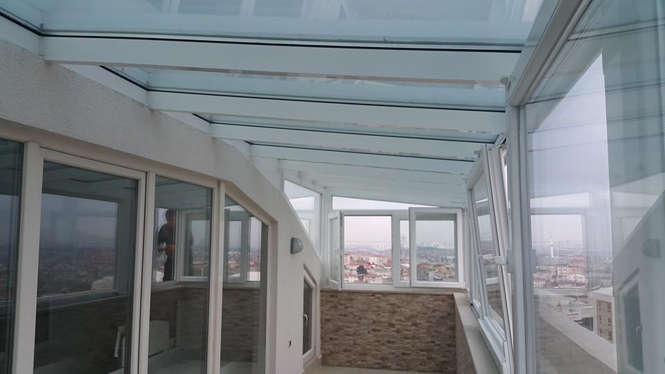 Cam tavan çatı teras etrafı kömmerling pvc pencere sistemli kış bahçesi uygulama