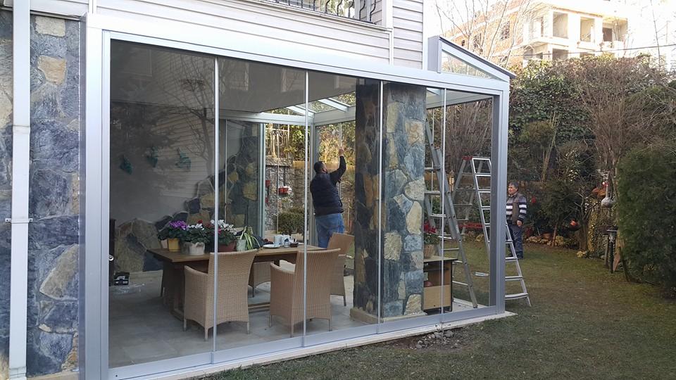 Çekmeköy Çatı Camlı Sistem Etrafı Sürme Katlanır cam kış bahçesi modelleri