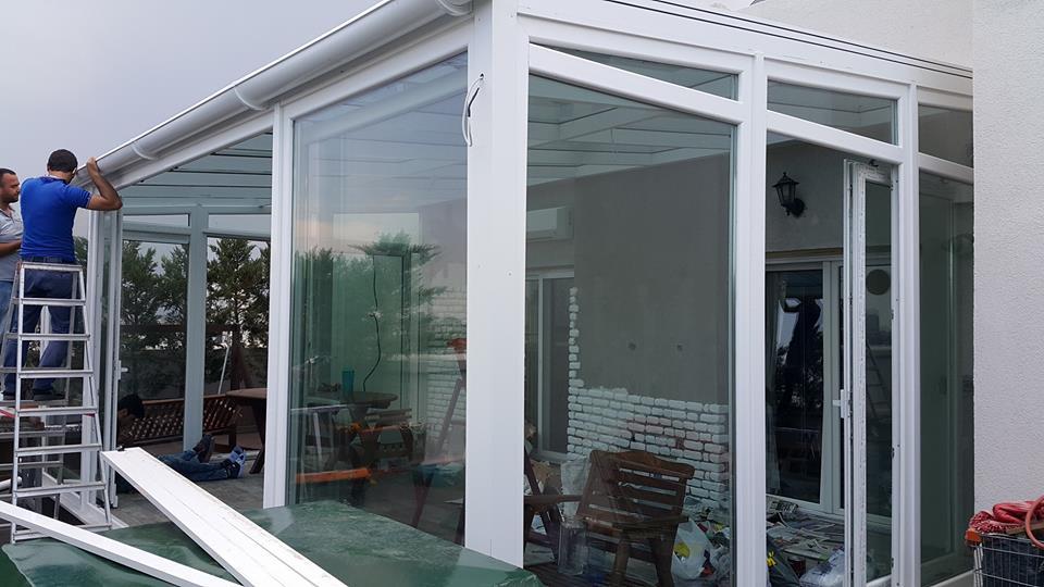 Ağaoğlu Eltes Güneşi Çatı Cam Tavan Etrafı kömmerling pvc pencereleri Woswagen sürme sistem Teras Kış Bahçesi Modelleri
