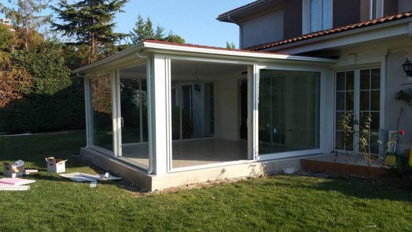 Alkent 2000 villaları pvc hbşb sürme kapalı çatı kış bahçesi sistemleri uygulama