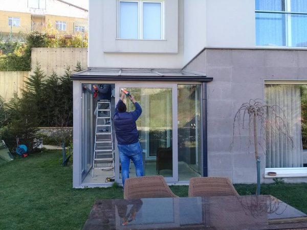 Cam çatı alüminyum hebeşibe sürme sistem villa kış bahçesi sistemleri