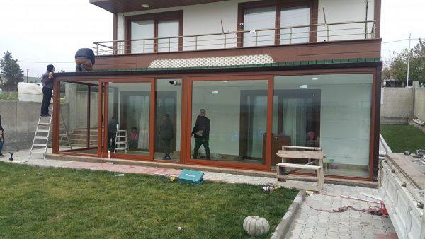 Etrafı Alüminyum Hebeşibe sürme sistem villa kapatma